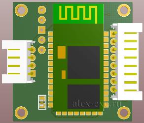 3D вид платы: слева - с Bluetooth (U1)
