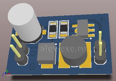 3D вид платы светодиодного драйвера PT4115