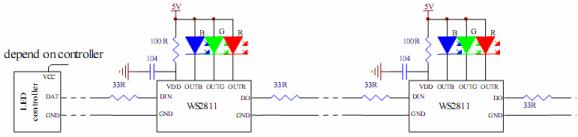Схема подключения светодиодов к ws2811 (из datasheet)