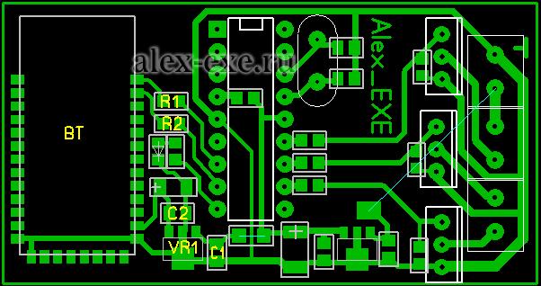 Плата Bluetooth RGB контроллера (вид со стороны выводных деталей)