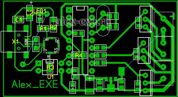 Плата USB RGB контроллера (вид со стороны выводных деталей)