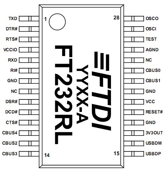 FT232RL в SSOP-28 исполнении