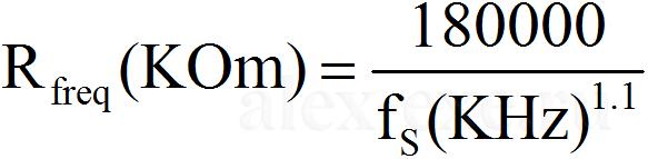 Rfreq(K)=180000/(fs(KHz)^1.1)