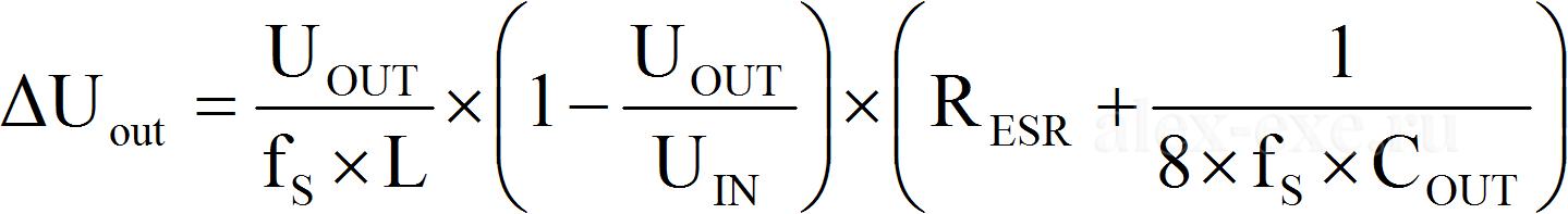 dUout=Uout/(fs*L)*(1-Uout/Uin)*(Resr+1/(8*fs*Cout))
