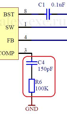 Участок схемы - C4, R6