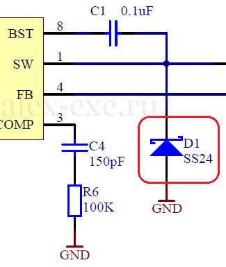 Участок схемы - D1