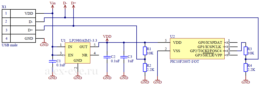 Схема триггера QC2.0 на pic10f200