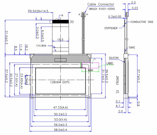 Размеры дисплея GG1286456FFWJ-A-R (из datasheet)