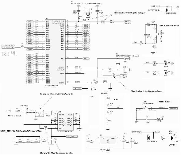 Схема включения МК на STM32vlDiscovery