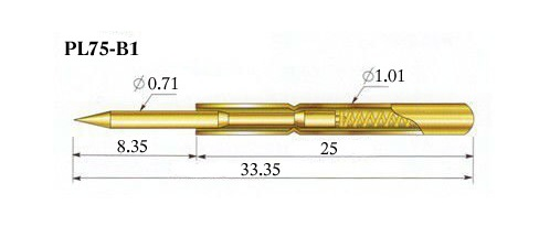 Габариты иглы-щупа PL75-B1